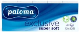 Papírové kapesníčky Paloma Exclusive - čtyřvrstvé, 100% celulóza, 10 balíčků