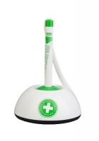 Antibakteriální kuličkové pero ve stojánku ICO - 0,7 mm, plastové, bílo-zelené
