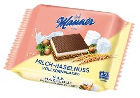 Oplatky Manner Snack - mléko a lískové oříšky, 5x25 g