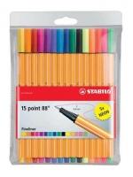 Liner Stabilo Point Standart+Neon 8815-1 - 0,4 mm, sada 10 ks + neon 5 ks