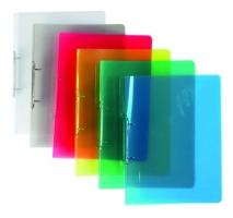 Dvoukroužkový pořadač A4 - hřbet 2 cm, plastový, transparentní mix barev, 25 ks