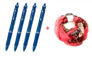 4 ks kuličkových per Pilot Acroball BeGreen - 0,7 mm, plastové, modré + DÁREK 1 ks šátek