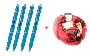 4 ks kuličkových per Pilot Acroball BeGreen - 0,7 mm, plastové, světle modré + DÁREK 1 ks šátek