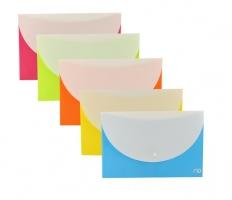 Spisové desky s bílou klopou a drukem A5 Deli Rio E38978 - plastové, mix barev