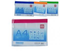 Obálka s plastovým zipem A4 Deli E5830 - plastová, síťovaná, transparentní, mix barev