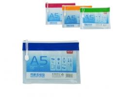 Obálka s plastovým zipem A5 Deli E5832 - plastová, síťovaná, transparentní, mix barev
