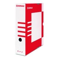 Archivační krabice na pořadač Donau A4/100 - s potiskem, 340x288x100 mm, lepenka, bílá/červená