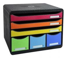Zásuvkový box Exacompta Plus - 6 zásuvek, duhový