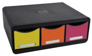 Zásuvkový box Exacompta - 3 zásuvky, duhový