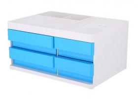 Zásuvkový box Deli Rio EZ25030 - 4 zásuvky, modrý