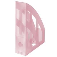 Stojan na katalogy Herlitz - plastový, transparentní růžový