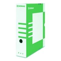 Archivační krabice na pořadač Donau A4/80 - s potiskem, 340x288x80 mm, lepenka, bílá/zelená