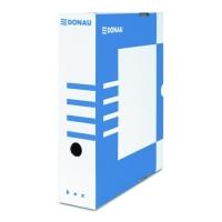 Archivační krabice na pořadač Donau A4/80 - s potiskem, 340x288x80 mm, lepenka, bílá/modrá