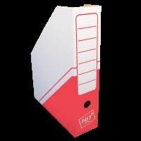 Stojan na katalogy Hit A4 - s potiskem, 325x255x75 mm, lepenka, bílo-červený