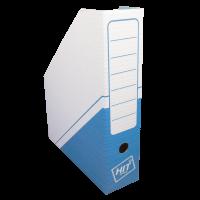 Stojan na katalogy Hit A4 - s potiskem, 325x255x75 mm, lepenka, bílo-modrý