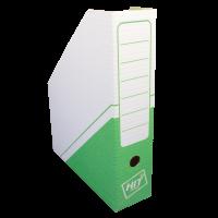 Stojan na katalogy Hit A4 - s potiskem, 325x255x75 mm, lepenka, bílo-zelený