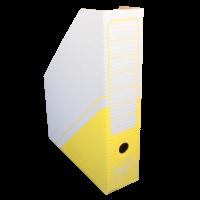Stojan na katalogy Hit A4 - s potiskem, 325x255x75 mm, lepenka, bílo-žlutý