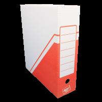 Archivační krabice na pořadač Hit - 330x300x100 mm, bílá/červená