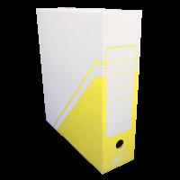 Archivační krabice na pořadač Hit - 330x300x100 mm, bílá/žlutá