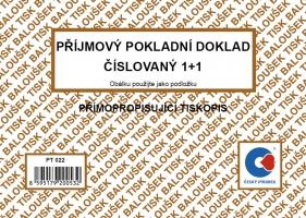 Příjmový pokladní doklad PT 022 - číslovaný, propisující, A6, 50 listů