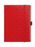 Denní diář Adam-vivella extra - B6, červený, srdce