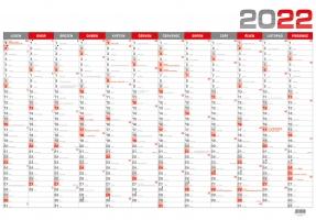 Nástěnný plánovací kalendář - B1, roční, červený