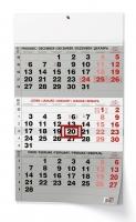 Nástěnný pracovní kalendář - skládaný, A3, tříměsíční, černý