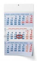 Nástěnný pracovní kalendář - skládaný, A3, tříměsíční, modrý