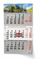 Nástěnný pracovní kalendář - skládaný, 292x420 mm, tříměsíční, příroda
