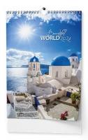 Nástěnný obrázkový kalendář - Beautiful world, A3, měsíční