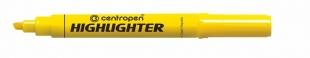 Zvýrazňovač Centropen Highlighter 8552 - klínový hrot, 1-4,6 mm, žlutý