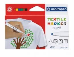 Popisovač na textil Centropen Textile Marker 2739/6 - 1,8 mm, sada 6 ks