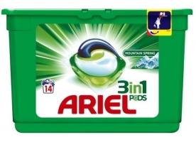 Gelové prací kapsle Ariel Power Capsulles Mountain Spring - bílé prádlo, 14 ks