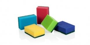 Houbička na nádobí maxi - 9x6,5x3 cm, mix barev, 5 ks