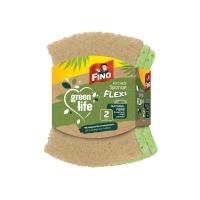 Houbička na nádobí Fino Green Life Flexi - bambus, recyklovaná, natural, 2 ks