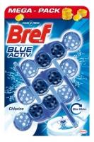 Závěsný WC blok Bref Blue Aktiv - chlorine, kuličky, 3x50 g