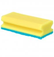 Houbička na nádobí Gastro - tvarovaná, modrý pad,15x6x4,5 cm, žlutá, 5 ks