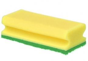 Houbička na nádobí Gastro - tvarovaná, zelený pad,15x6x4,5 cm, žlutá, 5 ks
