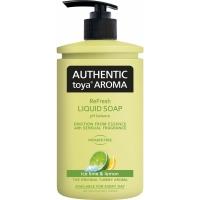 Tekuté mýdlo Authentic Toya Aroma - s dávkovačem, ice lime & lemon, 400 ml
