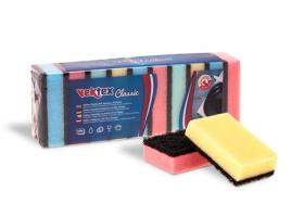 Houbička na nádobí Vektex Classic - 8,5x5,5x2,5 cm, mix barev, 10 ks