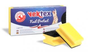 Houbička na nádobí Vektex Nail Protect - tvarovaná, 9,5x7x4,5 cm, žlutá, 3 ks