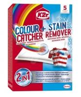 Prací ubrousky pro obnovu barvy prádla K2r Colour Catcher + Stain Remover - 5 ubrousků