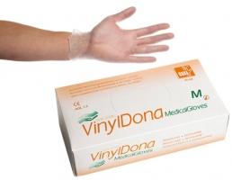Vyšetřovací rukavice S - vinyl, bezprašné, 100 ks