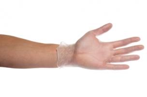 Vyšetřovací rukavice L - vinyl, bezprašné, 100 ks