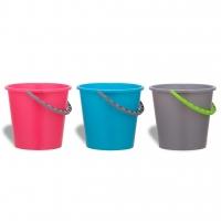 Plastový kbelík 10 l - pevný, s uchem, mix barev