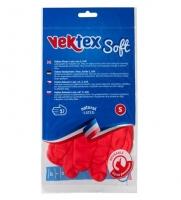 Úklidové rukavice Vektex Soft S-7 - gumové-latexové, červené