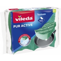 Houbička na teflonové nádobí s chráničem nehtů Vileda PUR active - ergonomická, 2 ks
