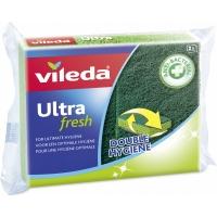 Antibakteriální houbička na nádobí Vileda Ultra Fresh - natural, 2 ks