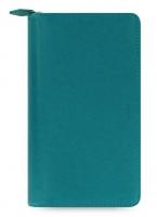 Osobní compact diář Filofax Saffiano Zip - 208x125x31 mm, akvamarín