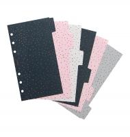 Náplň do diáře Filofax Confetti - osobní, vzorované rozřazovače, 6 záložek